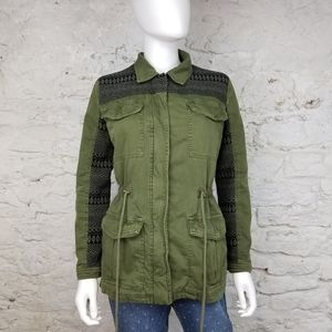 Forever 21 Cinched Waist Green Utility Jacket